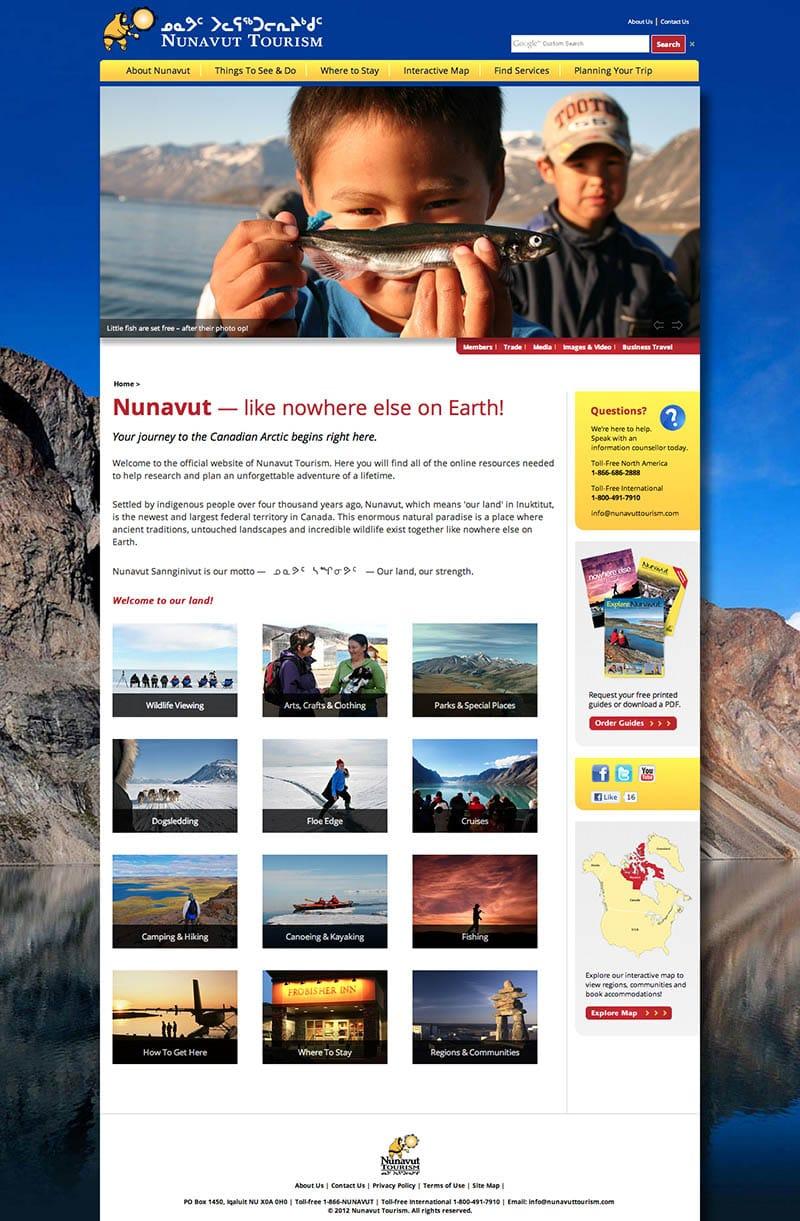 Nunavut Tourism website